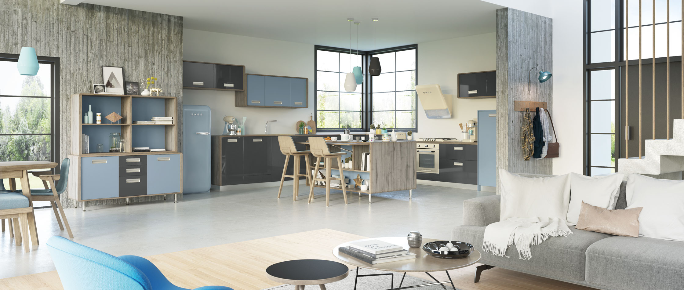 nos cuisines design moderne bois avec lot comera cuisines. Black Bedroom Furniture Sets. Home Design Ideas
