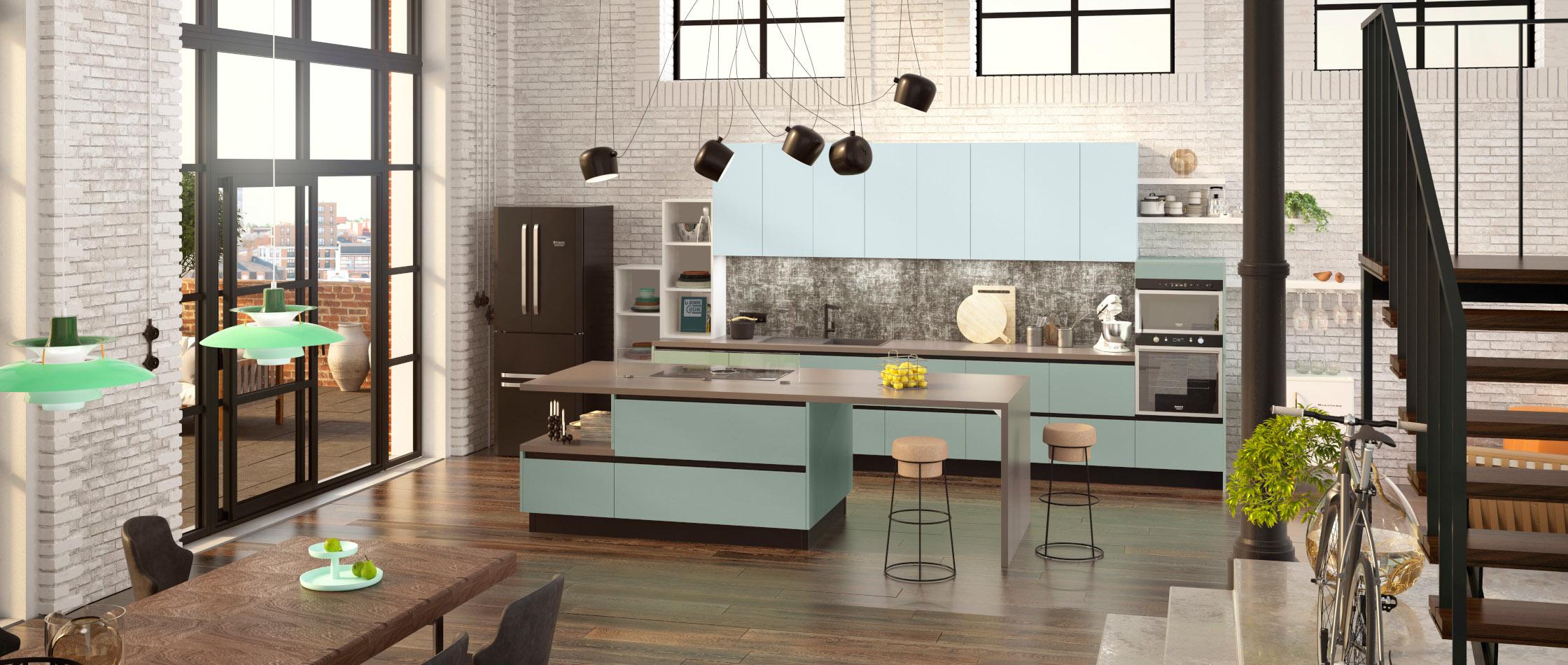 Exemple Ilot Central Cuisine nos cuisines : design, moderne, bois, avec îlot - comera