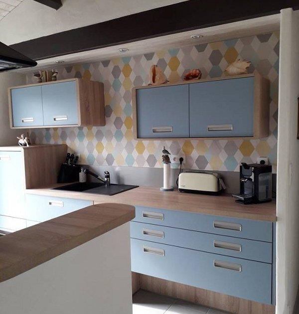 cuisine-bleue-papier-peint-vintage