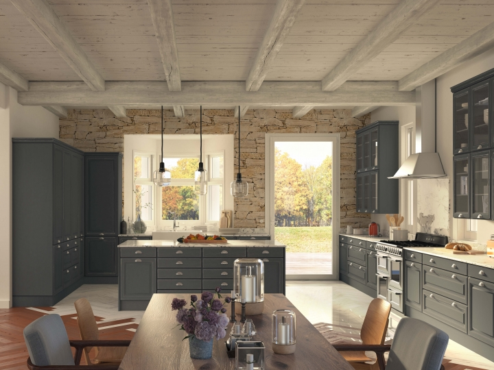 COMERA cuisines, modèle Lodge avec poignées coquille et meubles vitrés