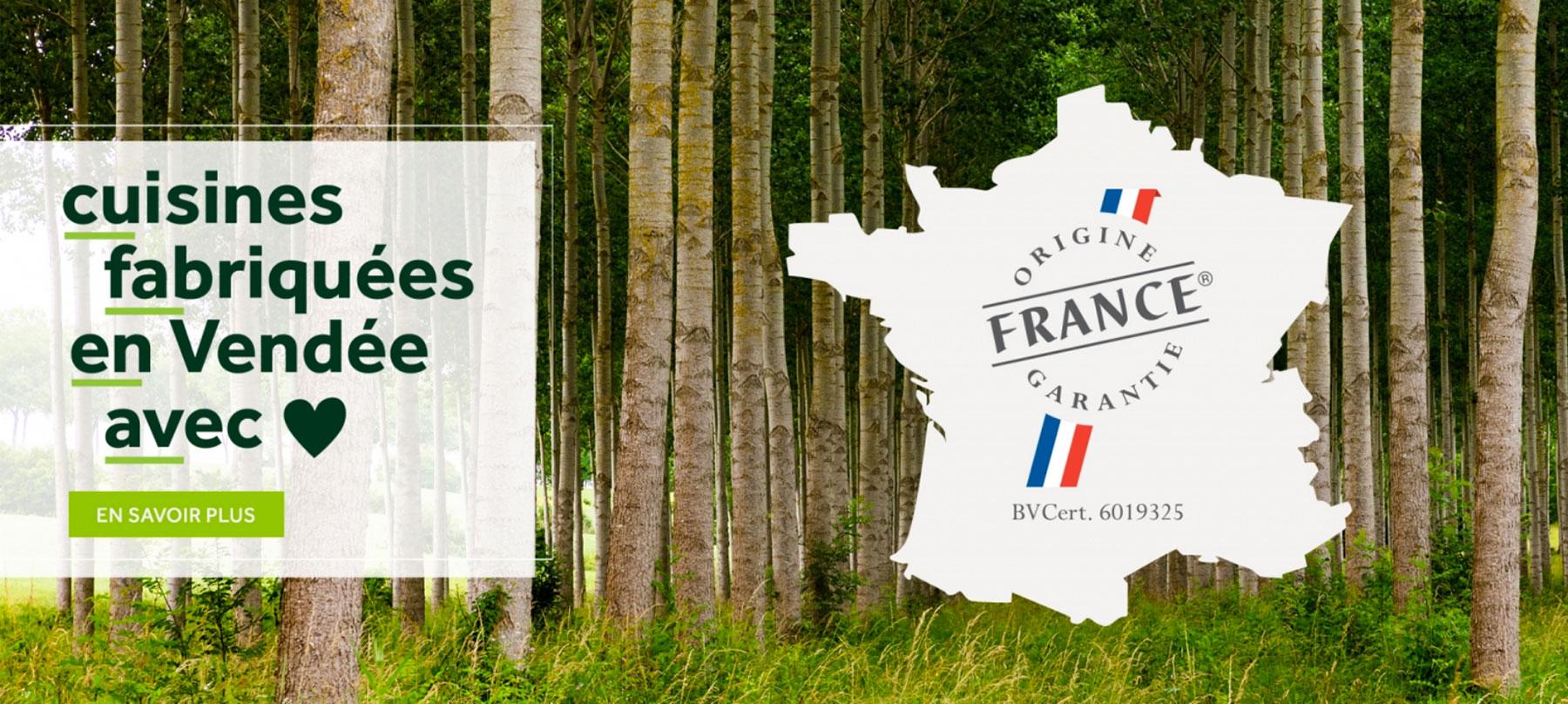 COMERA CUISINES |  origine France garantie cuisines fabriquées en Vendée avec coeur