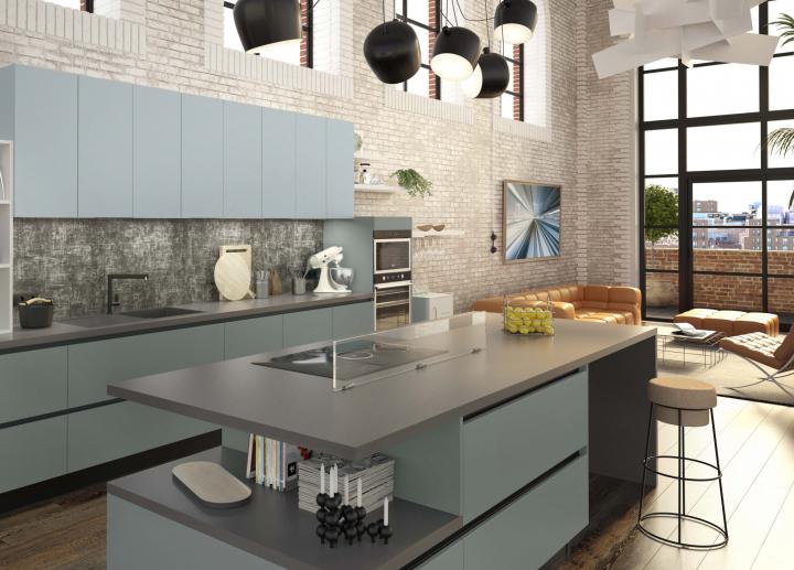 Cuisine bleue style indus Pop Art avec plaque de cuisson et hotte intégrée ELICA