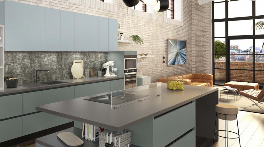 Cuisine contemporaine style industriel avec plaque de cuisson et hotte intégrée ELICA